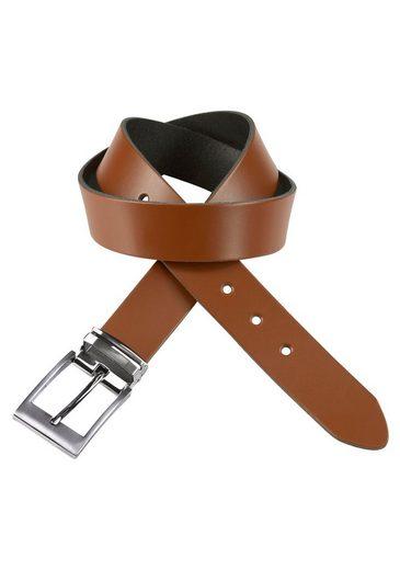 J.Jayz Ledergürtel mit doppelter Metallschlaufe, Coated Leather, Schließenset silberfarben gebürstet, Herrenledergürtel