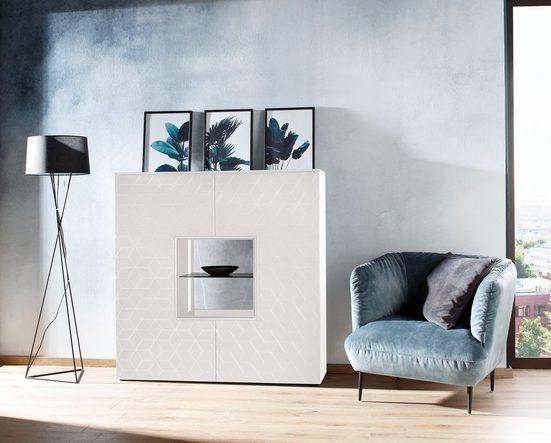 Villeroy & Boch Highboard »AMARA CARRÉ«, mit Stellfuß, 2 offene Fächer, Keramik-Rückwand in Zaha, wahlweise mit Beleuchtung, Breite 125 cm