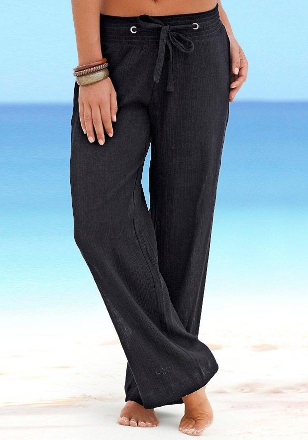 Beachtime Strandhose in Crash-Optik in schwarz