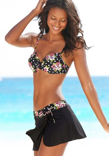 LASCANA Bade-Rock, mit integrierter Bikinihose im Floraldesign