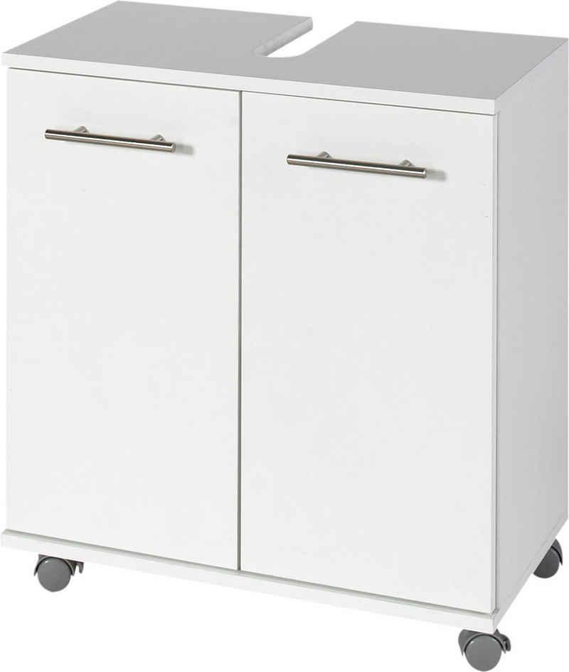 Schildmeyer Waschbeckenunterschrank »Palermo« Breite 60 cm, mit Metallgriffen, verstellbarer Einlegeboden, auf Rollen