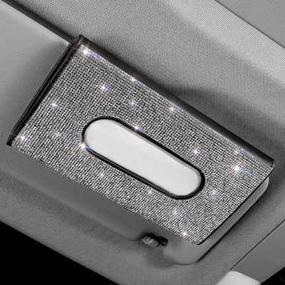 kueatily Dekokiste »Auto Tissue Box Sonnenblende Tissue Box Glitzer Tissue Box Serviettenhalter Bling Auto Tissue Halter Auto Kosmetik Tissue Box Halter Aufbewahrungsregal für Auto LKW Auto«