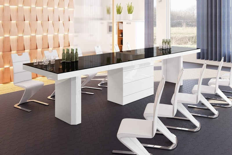 designimpex Konferenztisch »Design Konferenztisch Tisch HE-444 Schwarz / Weiß Hochglanz XXL ausziehbar 160 bis 412 cm«