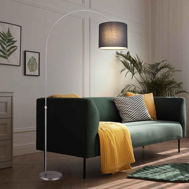 etc-shop LED Bogenlampe, Bogenstehlampe Stoffschirm Stehlampe gebogen Wohnzimmer Bogenlampe grau, höhenverstellbar, 1x E27, LxH 96x195 cm