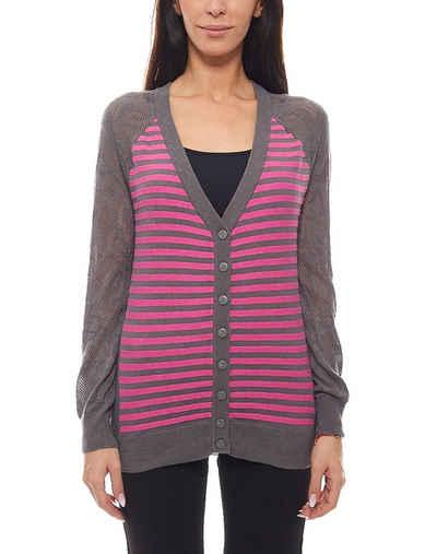 Maui Wowie Cardigan »MAUI WOWIE Pullover Damen Strickjacke gestreifter Cardigan Feinstrick Grau/Violett«