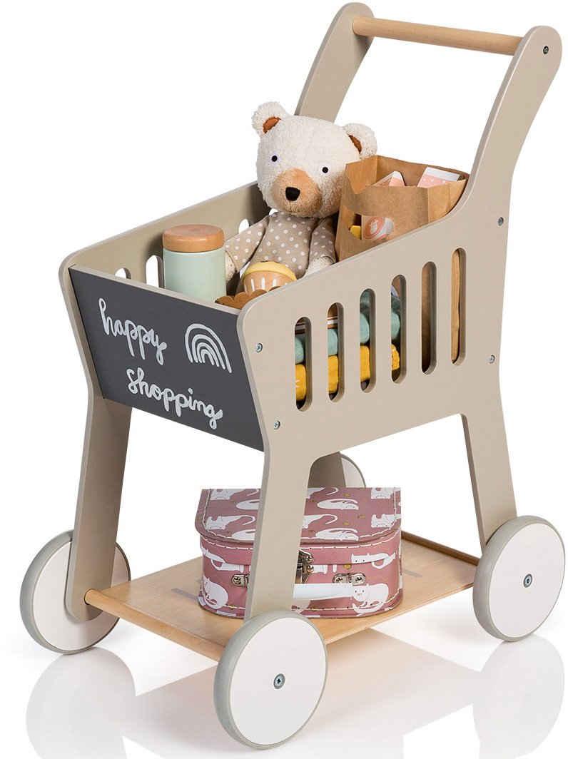 MUSTERKIND® Spiel-Einkaufswagen »Rubus, warmgrau/natur«