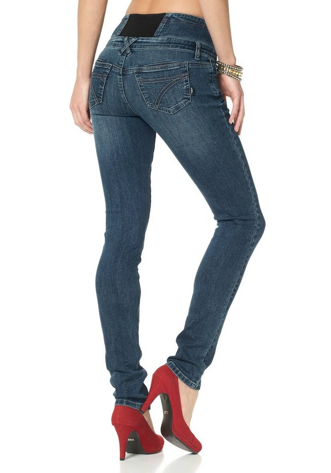 Arizona High-waist-Jeans mit Gummizugeinsatz in blue-used