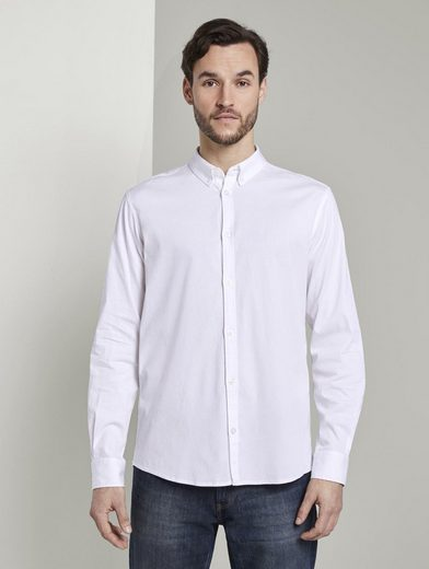 Schlussverkauf TOM TAILOR Langarmhemd »Basic Hemd mit Button-Down Kragen«
