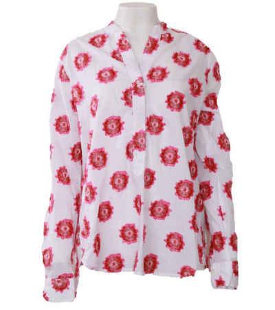Rossana Diva Klassische Bluse »rosanna Diva Bluse extravagante Damen Langarm-Bluse Made in Italy Tunika-Stil Weiß/Pink«