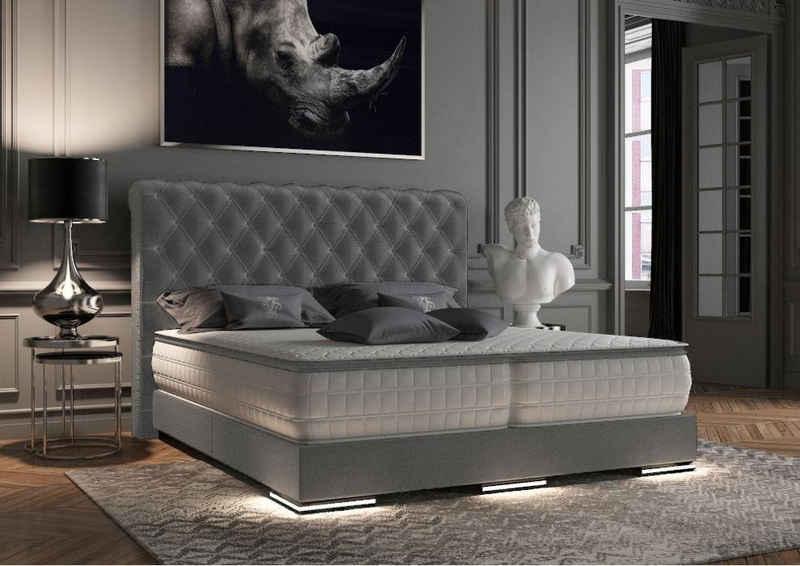 WohnenRoyal Boxspringbett »Baron Chesterfield Boxspringbett Grau Stoff 100 x 200 cm«