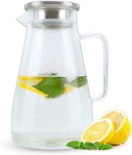 Intirilife Karaffe »Krug mit Henkel und Deckel«, für heiße und kalte Getränke, Tee, Kaffee, Wasser uvm.