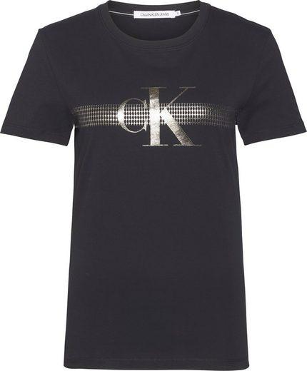 Calvin Klein Jeans T-Shirt »METALLIC MESH CK SLIM TEE« mit metalicfarbenen CK Logo-Print