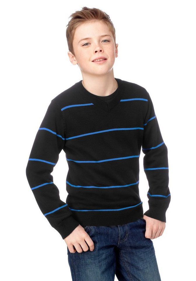CFL V-Ausschnitt-Pullover mit modischen Ringelstreifen in schwarz-blau-gestreift