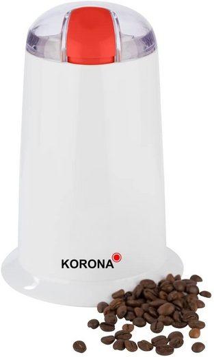KORONA Kaffeemühle Kaffeemühle 26010, 140 W, Schlagmahlwerk, 40 g Bohnenbehälter, elektrische kleine Kaffeemühle für feines Kaffeepulver, Weiß, 140 Watt, 40g Bohnenbehälter, Schlagmesser, Edelstahlmesser, Sicherheitsschalter, Kabelaufwicklung