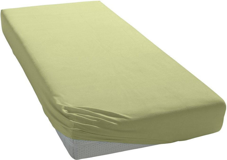 Spannbettlaken, Schlafgut, »Mako-Jersey«, temperaturausgleichend in lind