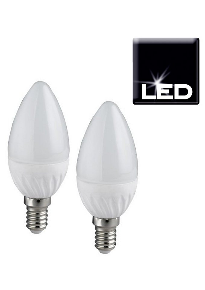 Set: LED-Leuchtmittel, Trio, »E14 Kerze«, (2er Pack) in silberfarben