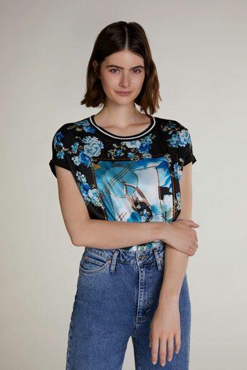 Oui T-Shirt »T-Shirt im Blumenmuster«