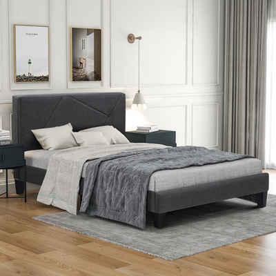 Flieks Polsterbett, aus Leinen Bettgestell 90x200 cm Einzelbett Jugendbett inklusive Lattenrost