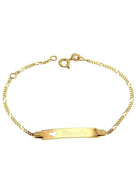 Firetti ID Armband Gravurplatte mit Herz / poliert - Identitätsarmband mit gratis Gravur | Schmuck > Armbänder > Armbänder mit Gravur | Goldfarben | Firetti