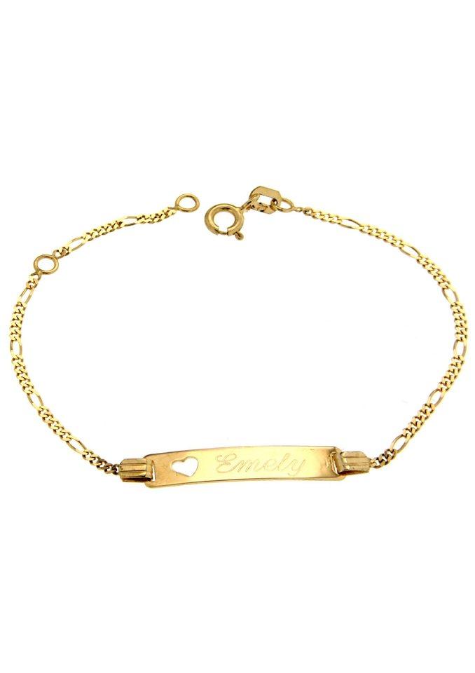 firetti Armschmuck: ID-Armband in Figarokettengliederung mit gratis Gravur in Gelbgold 375