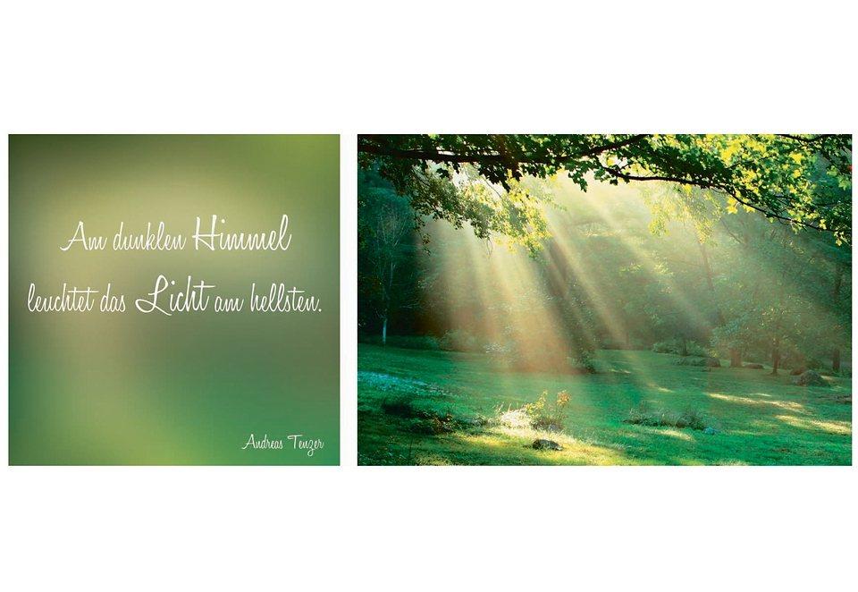 Home affaire Wandbild-Set »Spruch + Bild«, in 2 Größen (2tlg.) in grün