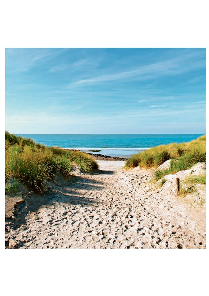 Home affaire Glasbild »Beach with sand dunes and a path to the sea«