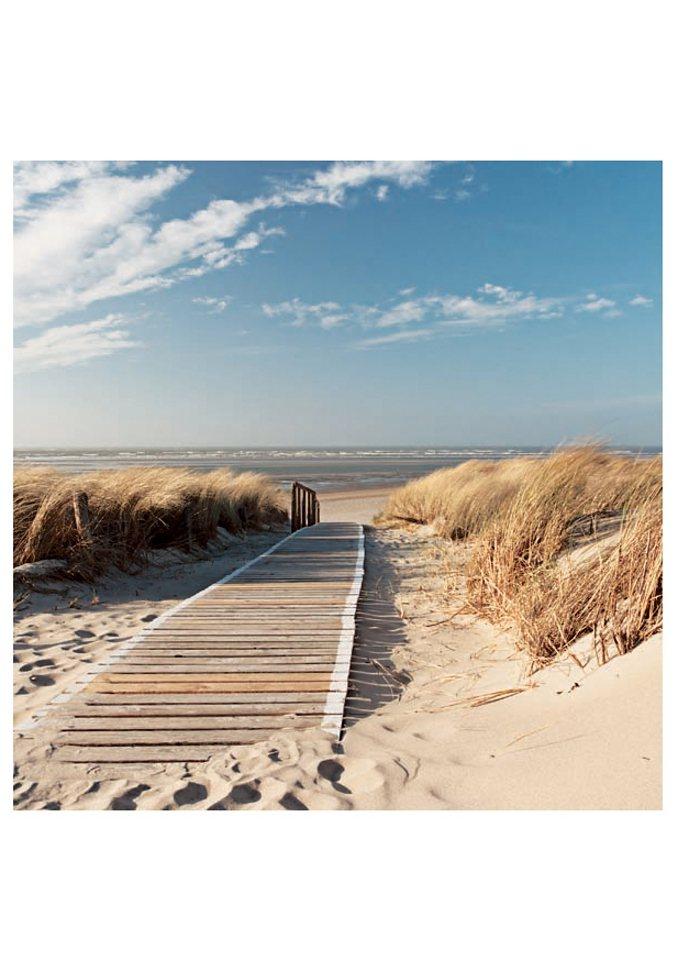 Home affaire Glasbild »Nordseestrand auf Langeoog«, in 2 Größen in natur