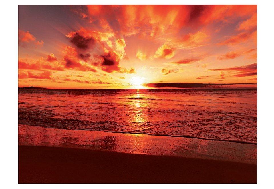 Glasbild, Artland, »Beautiful tropical sunset on the beach«, 80/60 cm in orange