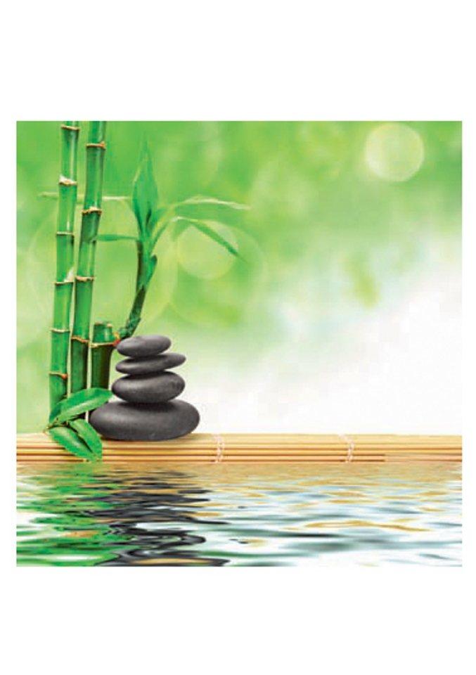 Glasbild, Artland, »Spa concept zen basalt stones«, Größe: 30 x 30 cm in grün