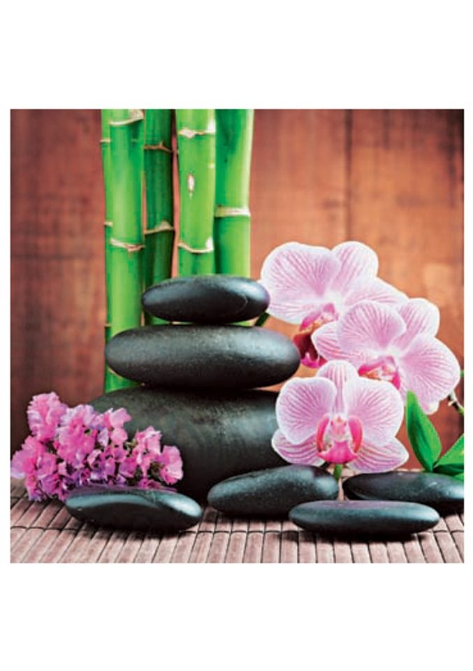 Home affaire, Glasbild, »Spa concept with zen stones and orchid«, 30/30 cm