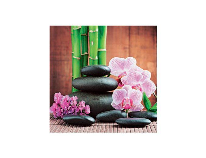 Glasbild, Artland, »Spa concept with zen stones and orchid«, Größe: 30 x 30 cm