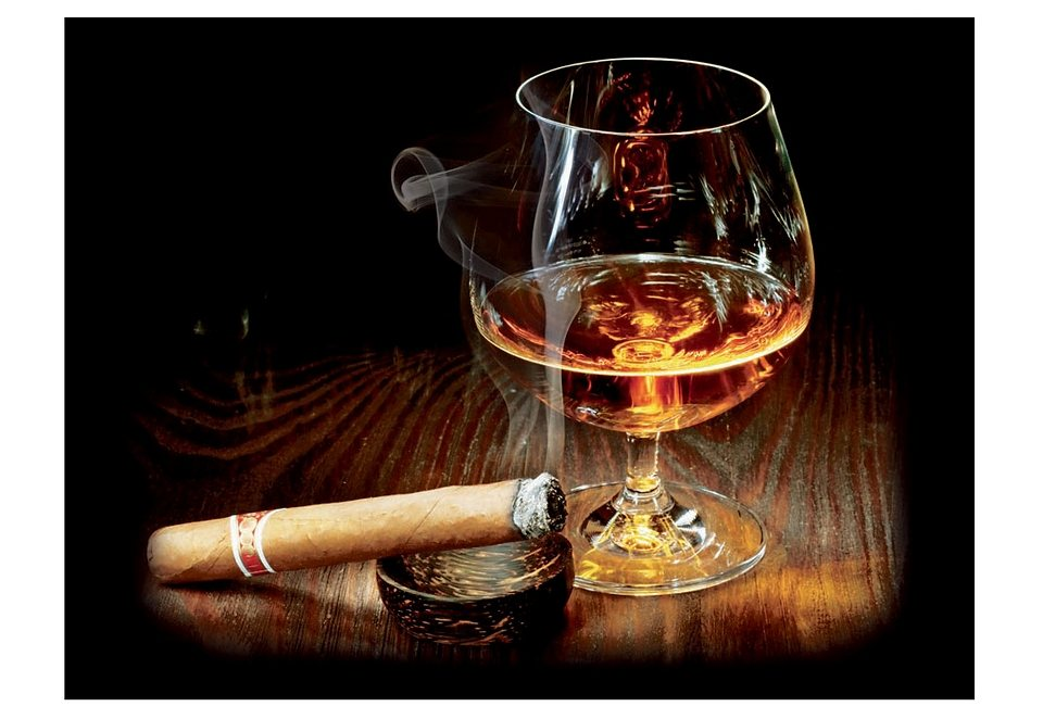 Premium collection by Home affaire, Glasbild, »Cigar and Cognac«, 80/60 cm in braun