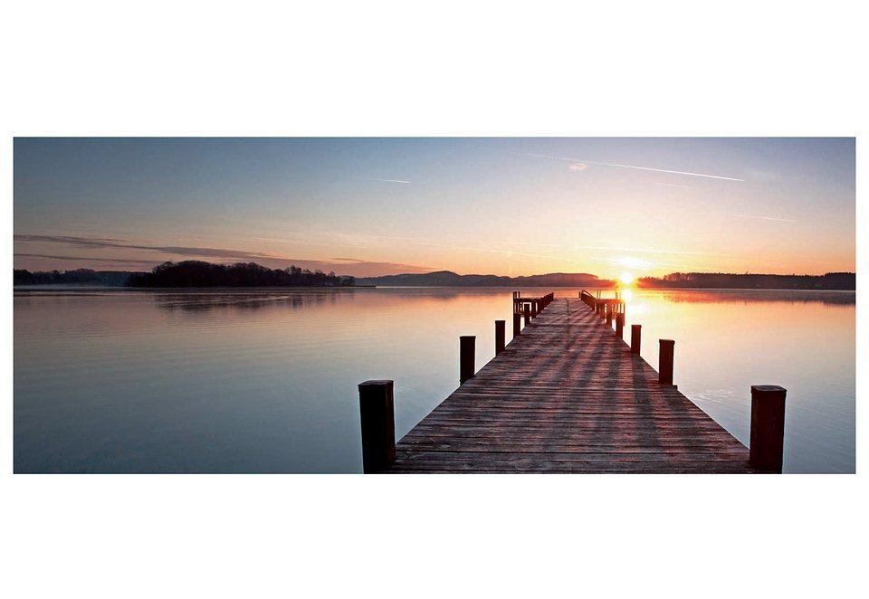 Glasbild, Artland, »Sonnenaufgang«, 100/50 cm in grau