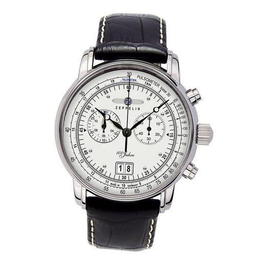ZEPPELIN Chronograph »UZ7690/1 Zeppelin Herren Uhr Elegant Z7690/1 Leder«, (Chronograph), Herren Armbanduhr rund, groß (ca. 43mm), Lederarmband schwarz