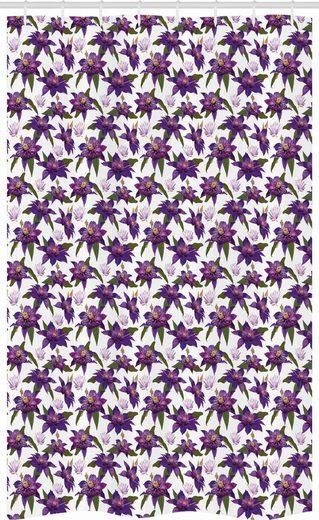 Abakuhaus Duschvorhang »Badezimmer Deko Set aus Stoff mit Haken« Breite 120 cm, Höhe 180 cm, Blumen Clematis Blüten Blick