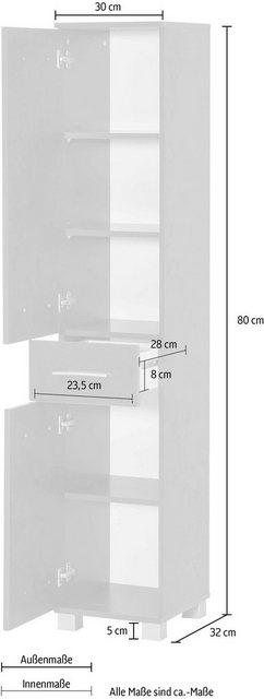 Badschränke - Wilmes Hochschrank »Kao« Badmöbel aus Holzwerkstoff  - Onlineshop OTTO