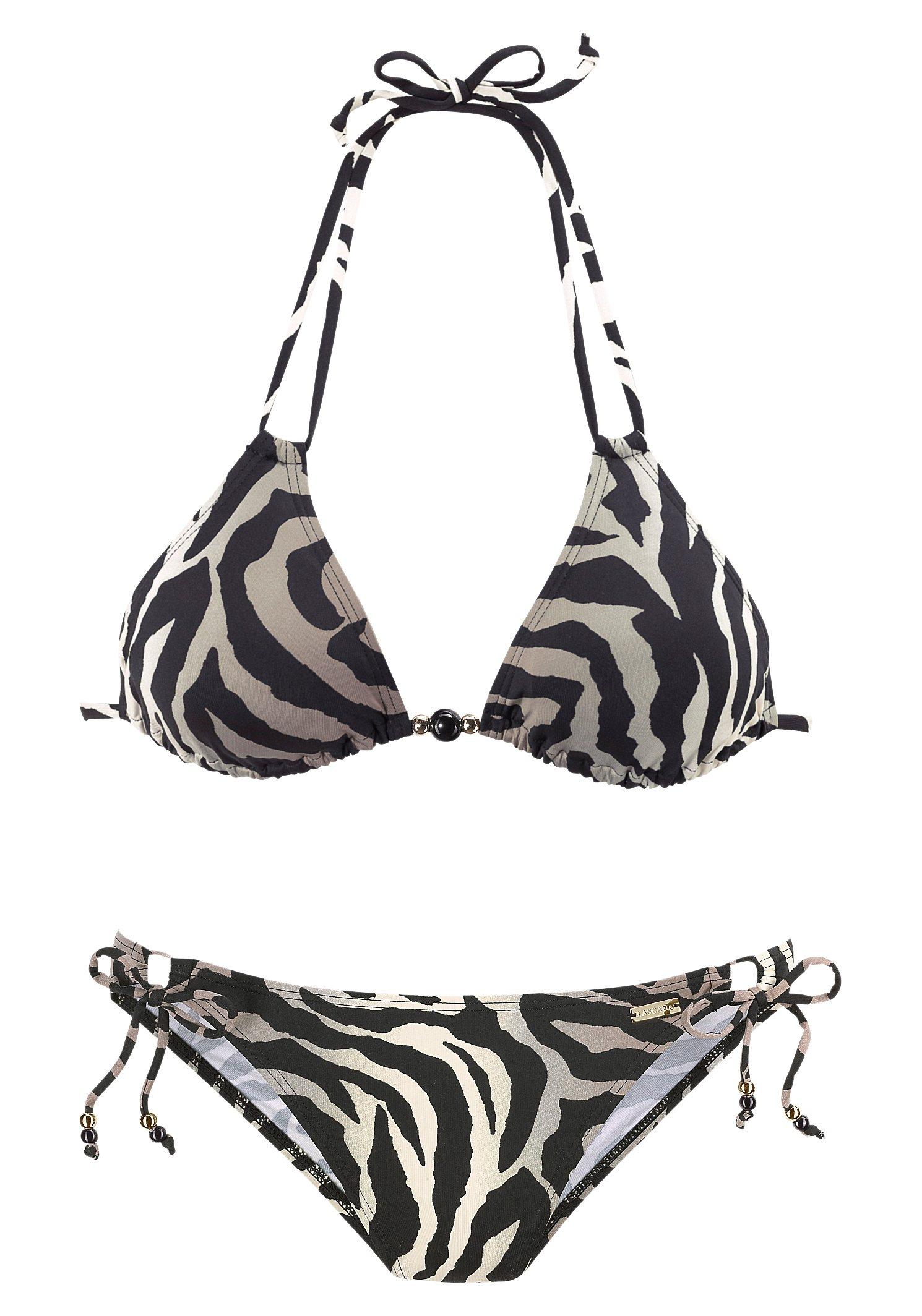 Damen LASCANA Triangel-Bikini im Animalprint schwarz | 04893865362637
