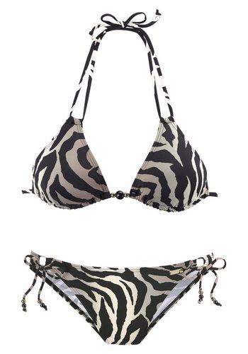 Damen LASCANA Triangel-Bikini im Animalprint schwarz | 04893865362644