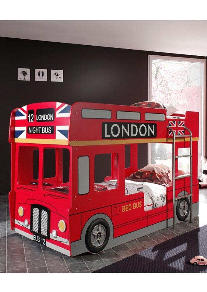 Etagenbett, Vipack | Kinderzimmer | Rot | Metall - Mdf - Glänzend - Lackiert - Kunststoff | Vipack
