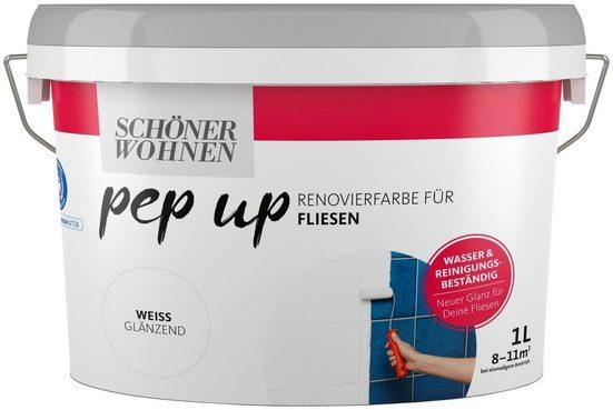 SCHÖNER WOHNEN FARBE Renovierfarbe »pep up - weiß«, glänzend, für Fliesen, 1 l