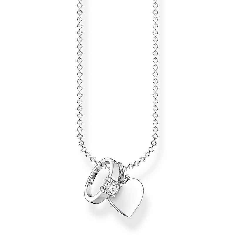 THOMAS SABO Kette mit Anhänger »KE2064-051-14 Halskette Anhänger Ring mit Herz Sterling-Silber«