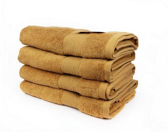 Aymando Handtuch Set »Gepunktet« (Spar-Set, 4-tlg), 4x Aymando Handtuch luxuriöse Verarbeitung Premium Qualität 100% ägyptische Baumwolle 50x90 cm 550 g/m² Gold