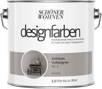 SCHÖNER WOHNEN-Kollektion Wandfarbe »Designfarben«, zeitloses Vulkangrau Nr. 3, feinmatt 2,5 l