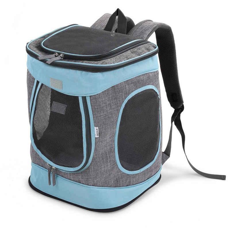 Navaris Tiertransporttasche, Rucksack für Katze gepolstert - Katzenrucksack - 33x28x43cm Haustier Backpack faltbar - Traglast bis 15kg