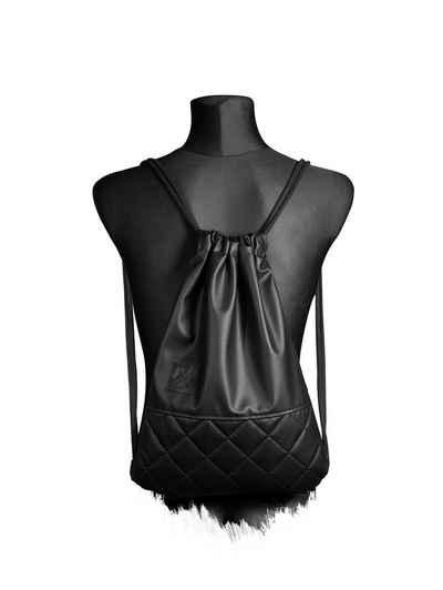 Manufaktur13 Gymbag »Black Out Sports Bag X2 - Turnbeutel, Kunstleder Sportbeutel«, Vegan
