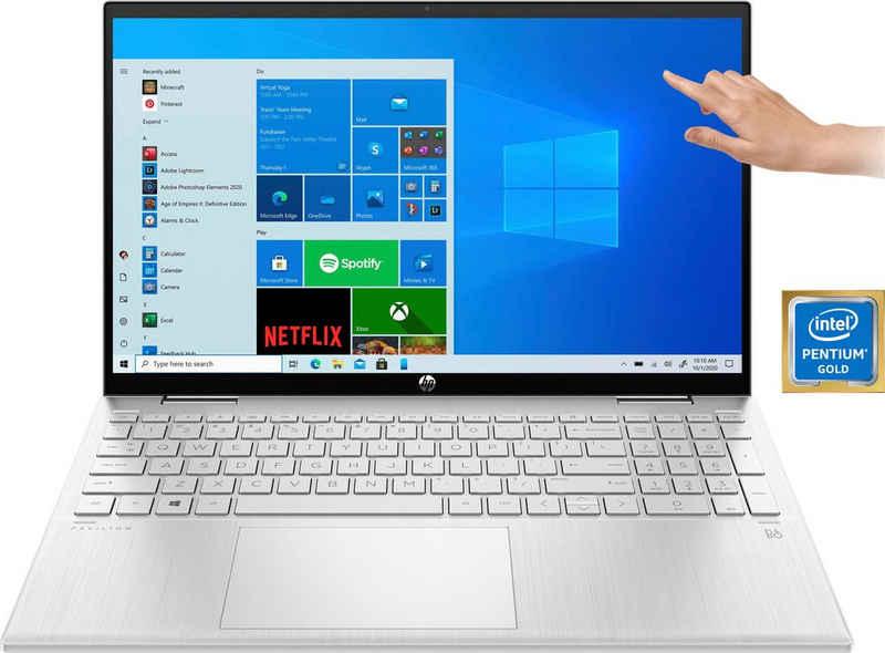 HP Pavilion x360 15-er0210ng Convertible Notebook (39,6 cm/15,6 Zoll, Intel Pentium Gold 7505, UHD Graphics, 256 GB SSD, Kostenloses Upgrade auf Windows 11, sobald verfügbar)