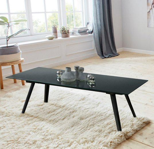 andas Couchtisch »Moritz«, mit Glastischplatte aus klarem Glas und schwarzlackiertem Metall Gestell