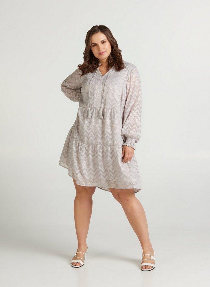 Festtagsmode - ZAY Abendkleid Große Größen Damen Gemustertes Kleid mit langen Ärmeln und Smock ›  - Onlineshop OTTO