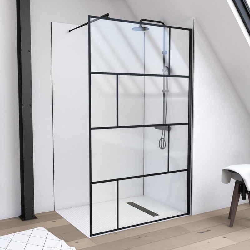 Marwell Walk-in-Dusche »Bricks«, Einscheibensicherheitsglas, (2 tlg), 120 x 195 cm, inkl. Haltestange für Wandmontage