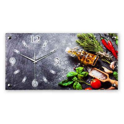 Kreative Feder Funkwanduhr (leise/kein Ticken, aus echtem Schiefer, 50x25cm, Kräuter, Gewürze, Kochen, Küche, WS368FL)